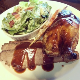 Beef brisket, half chicken, shrimp skewer and Caesar Salad