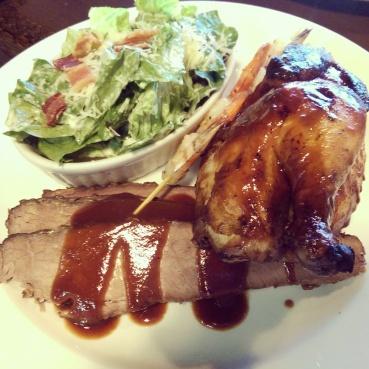 Beef brisket, half chicken, shrimp skewer and Caesar Salad