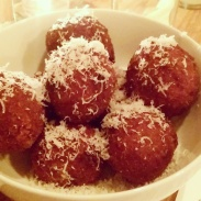 The delicious full-size bowl of arancini.
