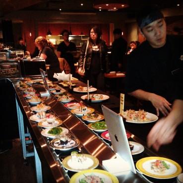 The mobile conveyer belt on kaiten sushi night.