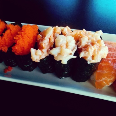A plate of Chop Chop, Masago and Salmon sushi at Zen.