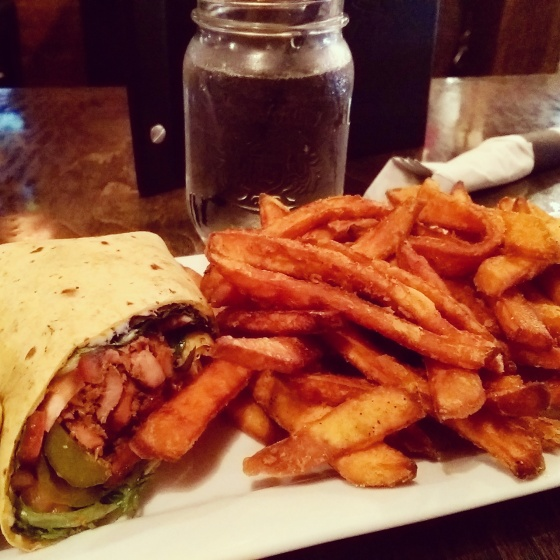 The Shawarma Wrap - a signature item - with Sweet Potato Fries