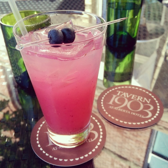 The pretty pink coloured blueberry lemonade.