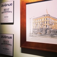 A sketch of the old Alberta Hotel and plaques from Avenue Magazine.