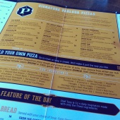 The Signature Pizza menu.