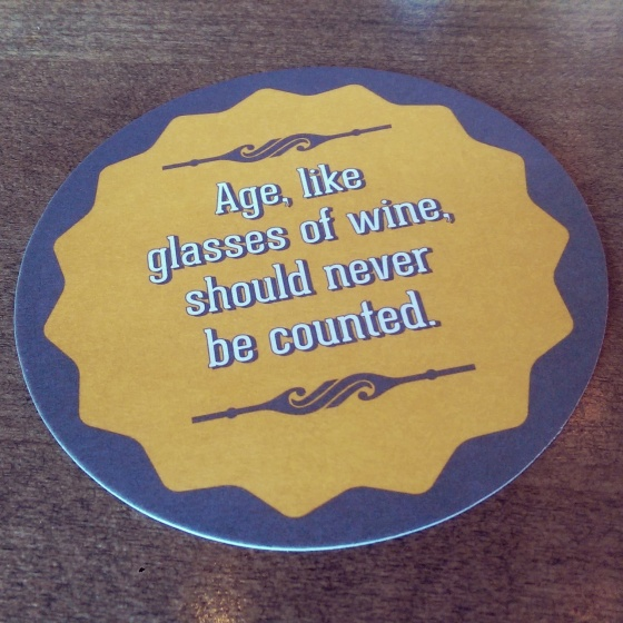 The back of one of the drink coasters. It's a cute touch.