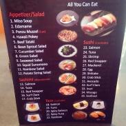One page of the printed menu at Watari.