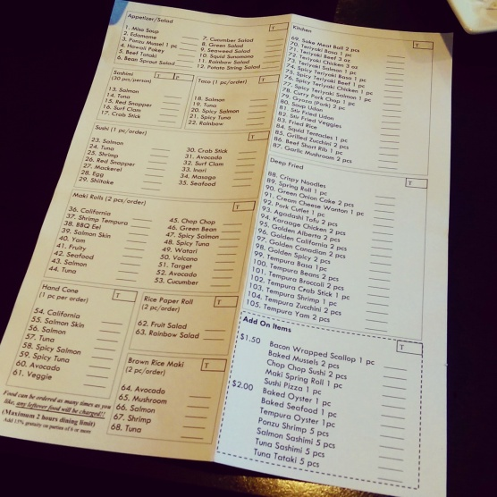 Watari's dinner order sheet.
