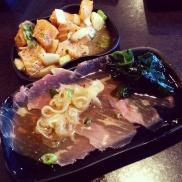 Beef tataki and Hawaii Poke(y) at Watari.