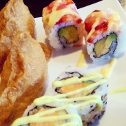 Fruity and yam maki rolls with inari at Watari.