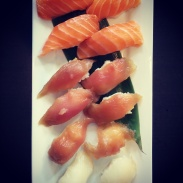 Salmon, tuna and red snapper sushi at Watari.