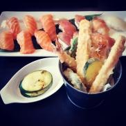 Tempura, grilled zucchini and sushi at Watari.
