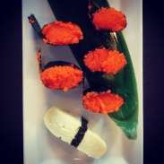 Masago and egg sushi at Watari.