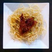 Crispy noodles with pork cutlet at Watari.