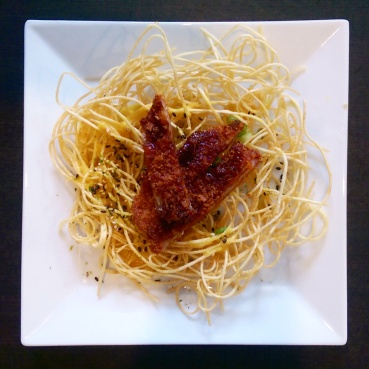 Crispy noodles with pork cutlet at Watari.