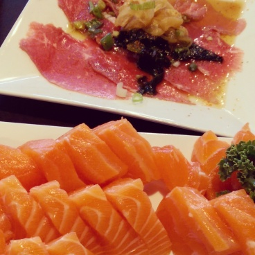 Salmon sashimi and beef tataki at Watari.