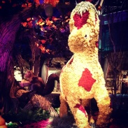 Up close photo of the horse made of flowers in the display at The Bellagio.