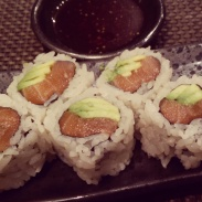Salmon and avocado rolls at Sushi Roku.