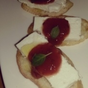 Giada's Tomato & Strawberry Jam crostini.