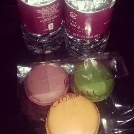 Bottled water and a bag of macarons left after the nightly turndown service at The Cromwell.