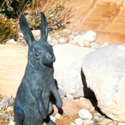 A bunny garden display at the Red Rock Canyon Visitor Center.