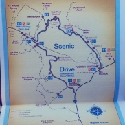 A map showing the scenic drive route and stops at Red Rock Canyon.