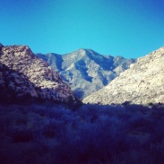 The mountains of Red Rock Canyon as the sun came out.