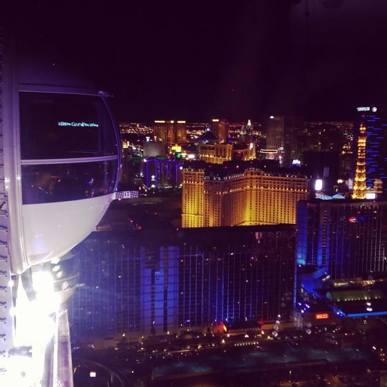 On the High Roller with a view of the Paris Eiffel Tower.
