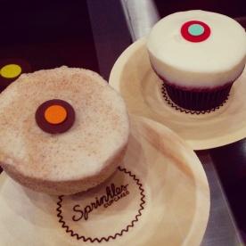 My Sprinkles triple cinnamon cupcake and my friend's red velvet.