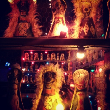The bowling pin decor at the Brooklyn Bowl bar.