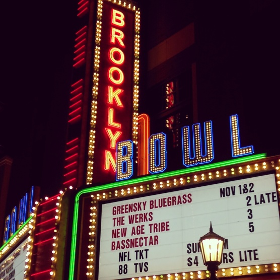 The Brooklyn Bowl marquee.