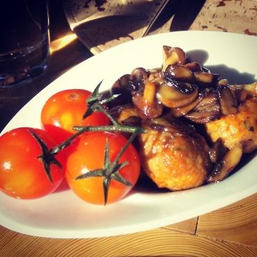 A starter of the chicken marsala meatballs at Giada.