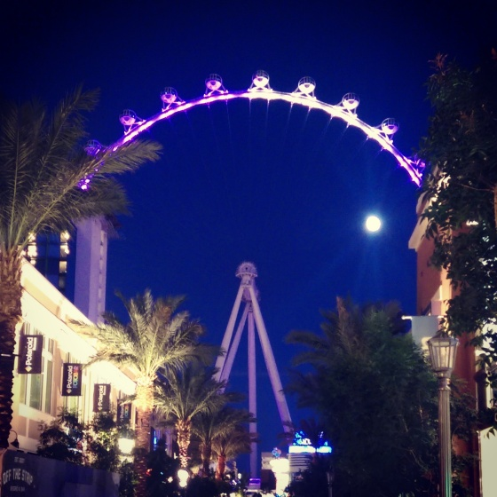 A view of the High Roller from near the entrance to the LINQ promenade.
