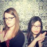 Posing in the Giada photo booth.