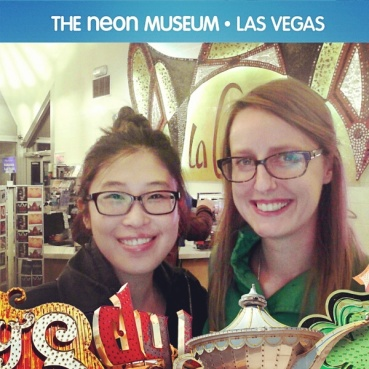 Using the Neon Museum photo booth.