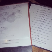 The list of menu items at AYCE kaiten sushi night last year and the ratings sheet.