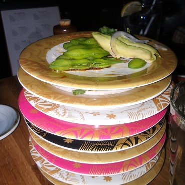 Our stack of emptied plates on kaiten sushi night.