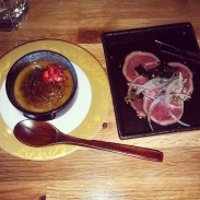 Matcha crème brûlée and beef tataki.