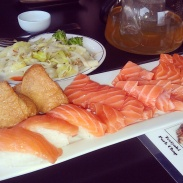 Salmon sashimi, salmon and inari sushi and veggie stir fry at Zen.