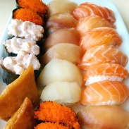 A huge plate of sushi at Zen.