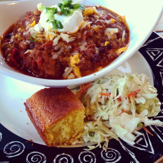 My dad's Brisket & Buffalo Chili with cornbread at Sloppy Hoggs.