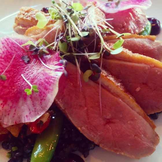 A close-up photo of the seared duck...beautiful.