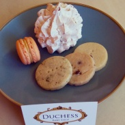 My take home desserts - a coconut meringue, a pumpkin macaron and a mix of three different shortbread cookies.
