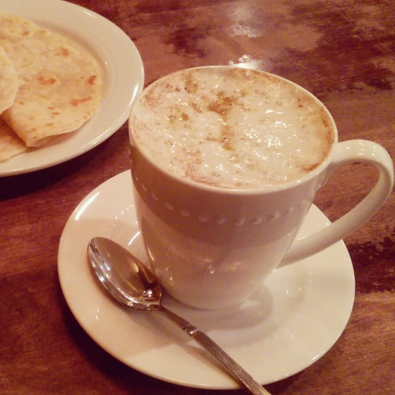 The pistachio chai is amazing! I used the roti in the background to dip.