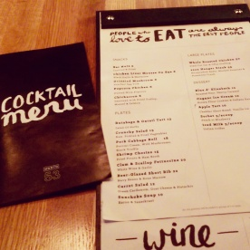 The new food menu, introduced November 2014.