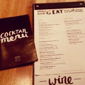 The new food menu, introduced November 2014.