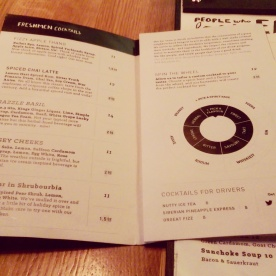 The new drink menu - pre-designed cocktails and customizable concoctions.