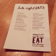 The dessert menu (and late night eats).