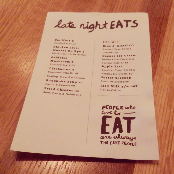 The dessert menu (and late night eats).