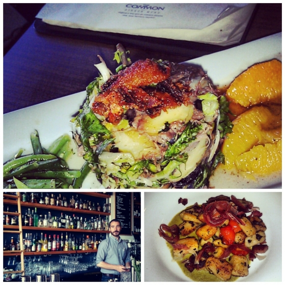 Clockwise from top: The Common's duck confit, Wildflower Grill's gnocchi and Woodwork's stocked bar.